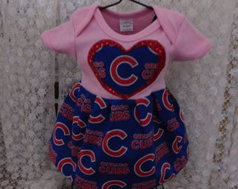 Cubs Baby Girl Pnk Onesie Dress New Baby Coming Home New Arrival Hospital Dress Baby Shower Gift