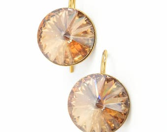 Round gold crystal earrings - gold earrings - golden earrings - rivoli earrings - Swarovski crystal