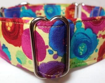 Fantasia Yellow, Blue, Purple, Fuschia and Red Greyhound, Whippet, Galgo, Pit Bull, Dog Sighthound Martingale Collar