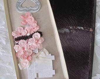 Here's to Happiness - Good Luck Silver Card Wedding Key with Flowers - In Box - 1960's