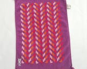 Vintage Yves Saint Laurent Hand Towel Purple Red Orange Mod 1970s Fingertip