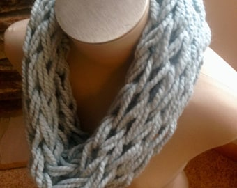 Arm Knit Infinity Scarf- Pale Blue