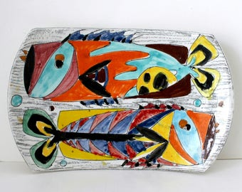 Abstract Fish Plate Tray Plaque Wall Hanging, Vintage Italian Art