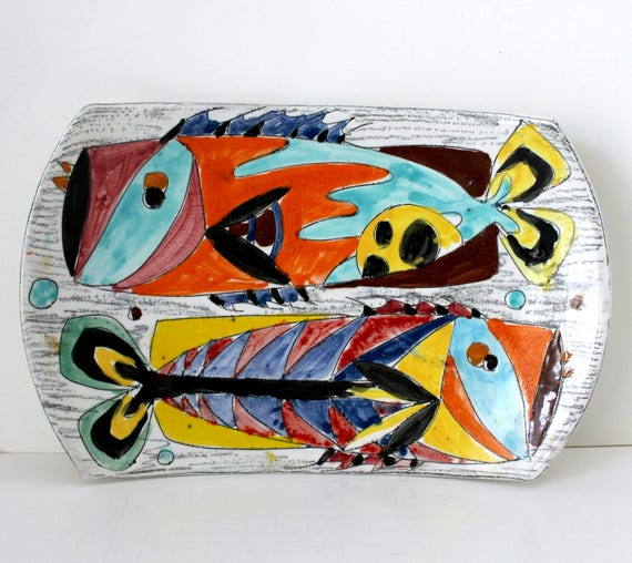 VIntage Abstract Fish Plate Tray Plaque Wall Hanging, Italian Art