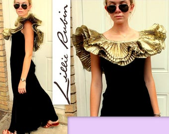 PHENOM Vintage 80s/1980s LILLIE RUBIN Avant Garde Velvet/Gold Lame' Trumpet Gown Dress