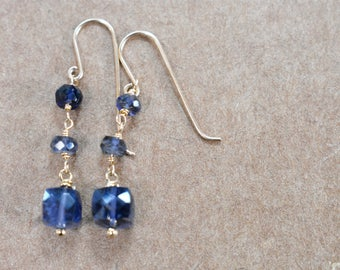 iolite gemstone earrings. faceted cubes and rondelles dangle earrings. hand linked iolite. violet iolite gemstone jewelry