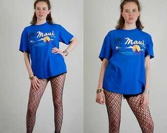 SALE 25% off sundays Maui Hawaii Vintage Blue Island Print Tees MAUI Slouchy Ringer Jersey T Shirt (m l)