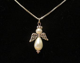 Pearl Angel Pendant Charm Necklace Memory Guardian Angel
