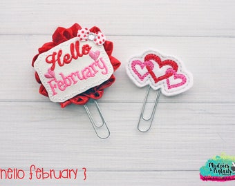 Planner Clip Set { Hello February } valentine's day Paper Clips, Stationary, red and pink Birthday party favors, kikkik, happy planner