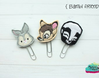 Planner Clip or Hair Clippies { Bambi Friends } skunk, deer, rabbit, animal Summer Paper Clips, Stationary, Birthday party favors, kikkik