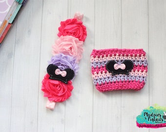 Planner band or Cup Cozy { Mouse Ears } pink, purple black, crochet coffee sweater planner girl accessories bible band, baby headband