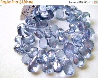SALE Mystic Blue Quartz Gemstones. Semi Precious Gemstone. Faceted Pear Briolette. 11-14mm. Pairs Not Available.  1 to 9 Briolettes. (4B12).