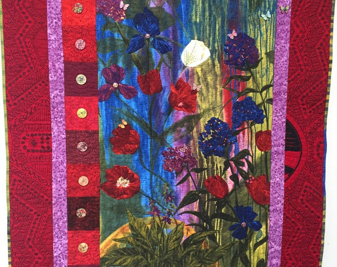 Give Yourself a Thoughtful Flower 39x47 inch art quilt