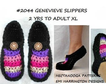 crochet slippers pattern - child, toddler, teen, adult, #2044 GENEVIEVE SLIPPERS