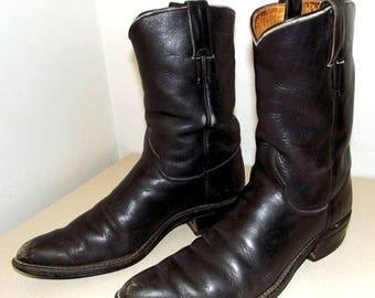 Rockabilly style Black Justin brand vintage cowboy boots
