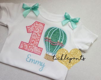 For all sizes and ages - Girls Hot Air Balloon birthday shirt - Full outfit available - Coral teal sparkle and gold - Can be customized