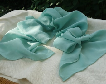 """Pale Blue-Green Silk Scarf  Natural Plant Dyed Silk Scarf Crepe de Chine Silk 10"""" x 56"""" Fresh Indigo Leaves Naturally Dyed Silk Scarf"""