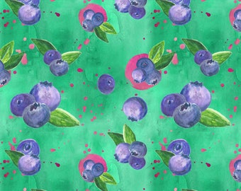 Blueberry Bunches Fabric - Juicy Blueberries By Clumsybydesign - Watercolor Summer Blueberry Cotton Fabric By The Yard With Spoonflower