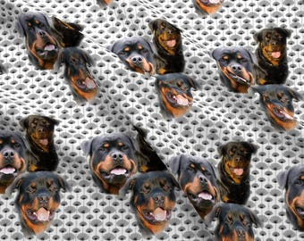 Rottweiler Trio Fabric - Rottweilers And Thistles By Dogdaze - Rottweiler Dog Portrait Cotton Fabric By The Yard With Spoonflower