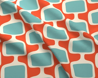 Retro Mod Fabric - Mid Century Modular Tv Screens ~ Orange Blue By Retrorudolphs - Upholstery and Cotton Fabric by the Yard with Spoonflower