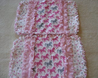 Horses Pink and Gray pony Stars Baby Shower Gift Spit Rag Pink Baby Girl Burp Cloths with Minky backing