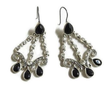 Black & Clear Rhinestones Dangle Earrings Vintage Deco Style
