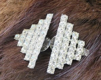 SALE Pair of Art Deco Brooches Triangle Tac Pins Vintage Pave Clear Rhinestones