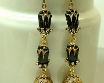 Vintage German Pressed Glass Black Gold Bead Dangle Drop Long Earrings,Vintage Gold Lucite Checkered Bead- GIFT WRAPPED