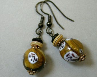 Vintage Venetian Millefiori Glass Bead Dangle Drop Earrings Amber Brown Black White - GIFT WRAPPED