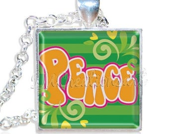 """20% OFF - Retro Peace Groovy 1"""" Square Glass Pendant or with Necklace - SQ149"""