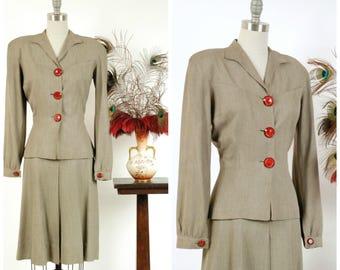 Vintage 1930s Suit - Autumn 2017 Lookbook - The Jonamac Suit - Striking 30s Heathered Gabardine Suit with Full Sleeves and A-Line Skirt