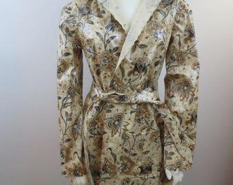 Vtg Unlined Floral Raincoat / Belted Raincoat / Hooded Raincoat / Vinyl Raincoat / Hooded Vinyl Raincoat