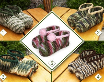 Camouflage Crocheted Slippers - Slippers for Hunters, Slippers for Military, Camo Slippers, Adult Slippers, Mens Slippers, Womens Slippers