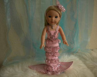 American Girl Wellie Wisher 4-pc. Light Pink Mermaid Outfit.