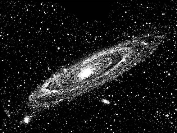 """andromeda galaxy astronomy space art printables png jpg clip art celestial digital image download black and white illustration 8.5"""" x 11"""""""