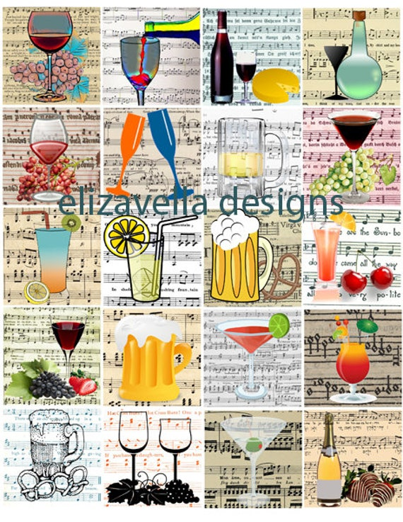 alcoholic beverages wine beer cocktails sheet music digital download collage 2 INCH squares image graphics printable