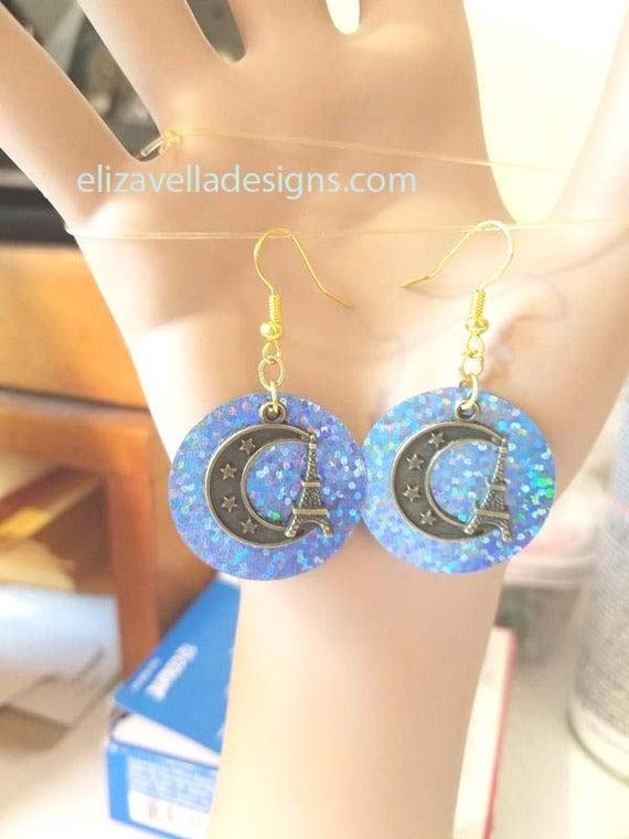 Eiffel tower half Moon earrings blue sequin earrings bronze charm dangles handmade sparkly jewelry jewls5064