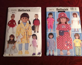 """2--Butterick--18"""" Doll--American Girl--Clothing Patterns--3329 & 3875--Uncut--Bride-Dresses-Pants-Tops-Ice Skater-Pajamas-Backpack-Gown-"""