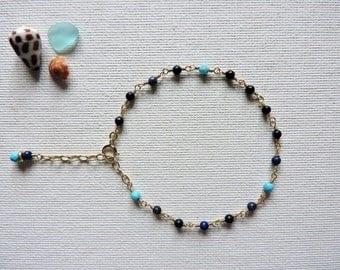 Lapis, turquoise & gold filled chain bracelet - dainty, minimal bracelet - summer jewelry