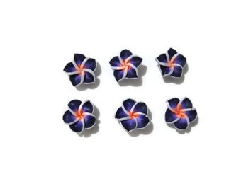 15 mm Polymer Clay Plumeria Flowers Set of 6 (SP15)