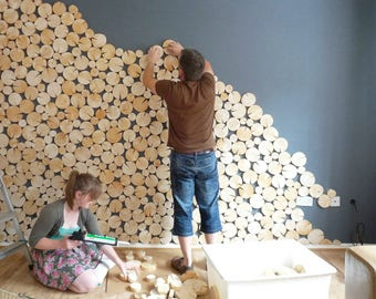 Natural Whole LOG WALL TILES - wood tiles - wood slices - wall covering - feature wall - quick and easy - natural wood - logs - log wall