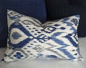 Blue Ikat Lumbar Pillows, Blue Decorative Pillows, Blue White Grey Pillow Covers, Housewarming Gift, Fall Decor, 12x18, 12x20, 14x20