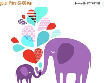 """SUMMER SALE 4X6"""" elephant baby art print on fine art paper. lavender purple, teal blue, and red."""