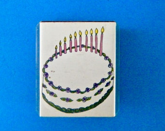 Birthday Cake with Ten Candles Rubber Stamp Vintage 1989 Rubbermania Stamped Twice