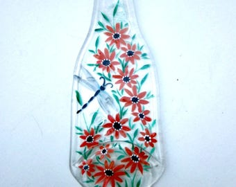 Spoon Rest, Kitchen Trivet,  Melted Clear Beer Bottle,  Hand Painted with Orange Flowers and  Dragonfly, Candle Holder, Kitchen Decoration.