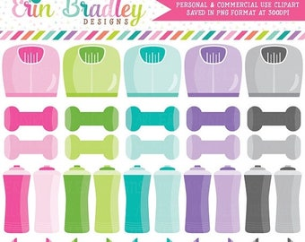 80% OFF SALE Exercise Fitness Clipart Graphics Scales Weights Barbells and Water Bottles Clip Art Personal & Commercial Use