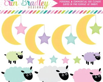 80% OFF SALE Moon Stars Clipart Clip Art for Personal or Commercial Use with Lambs Instant Download