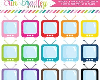 80% OFF SALE TV Set Clipart Television Clip Art Graphics Personal & Commercial Use