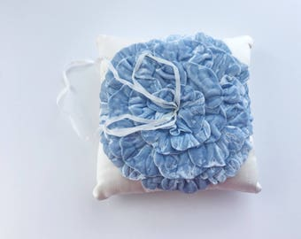 Ready to ship - Pure Silk Velvet Ring Pillow - soft and lovely - Dusty Blue - Something Blue