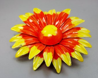 Daisy Flower Brooch, Yellow Orange Enamel Jewelry, 1960's Costume Jewelry, Bridal Bouquet, Vintage Brooch